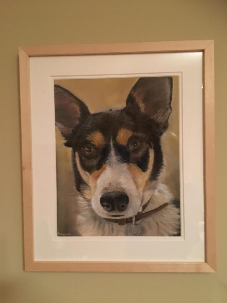 Dog portrait in wooden frame